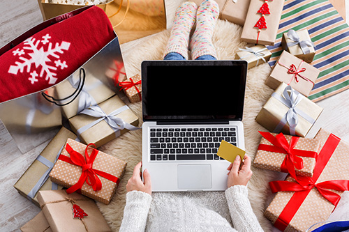 Holiday Shopping on Laptop