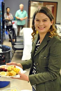 Kari Bahr Enjoying Thanksgiving Potluck